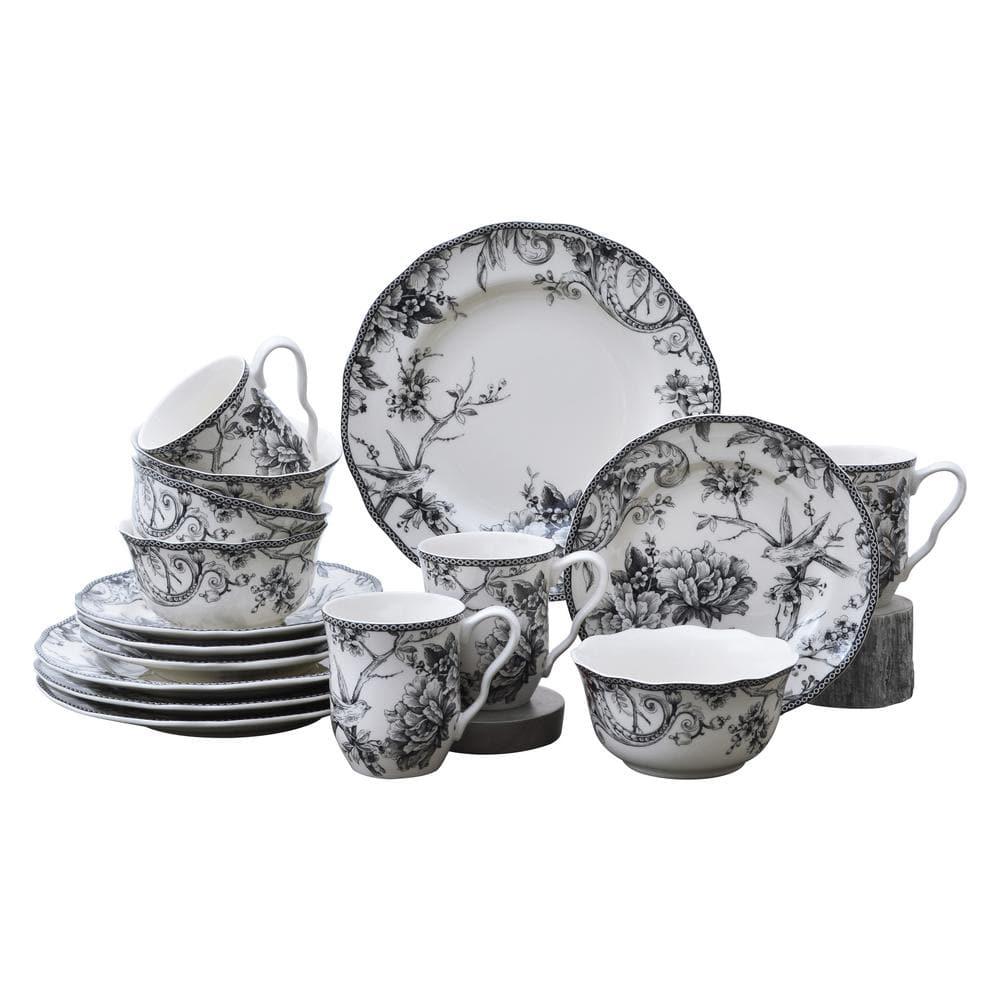 222 Fifth Adelaide 16 Piece Black Porcelain Dinnerware Set 1000bk804a1c25 The Home Depot