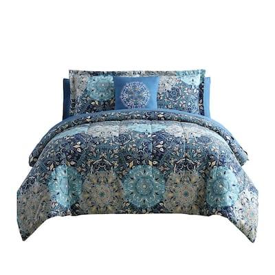 Caen 8-Piece Polyester Blue Printed Full Size Reversible Comforter Set