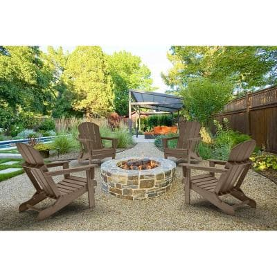 DECO Weathered Wood Folding Poly Outdoor Adirondack Chair (Set of 4)