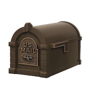 Keystone Series Aluminum Post-Mount Mailbox Bronze with Antique Bronze