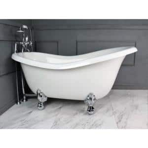 67 in. AcraStone Acrylic Slipper Clawfoot Non-Whirlpool Bathtub in White with Large Ball in Claw Feet Faucet in Chrome