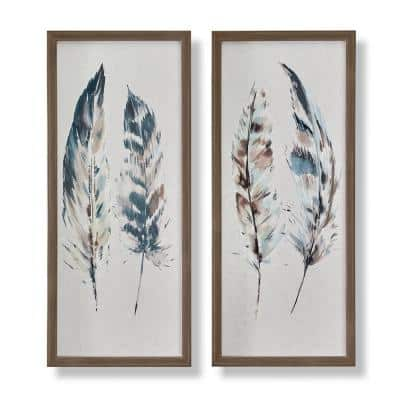 Painterly Feathers Framed Canvas Wall Art Set of 2