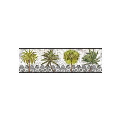 Delray Palm Border black/white/green Wallpaper Border