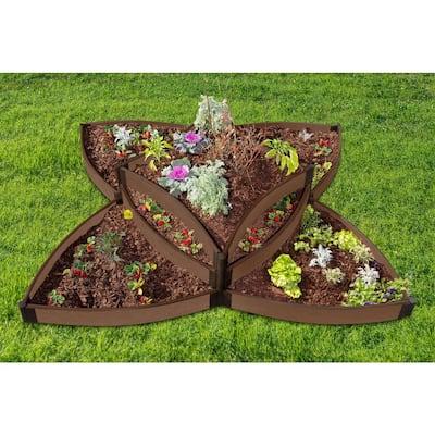 Tool-Free 8 ft. x 8 ft. x 16.5 in. Uptown Brown Versailles Sunburst Composite Raised Garden Bed - 1 in. profile