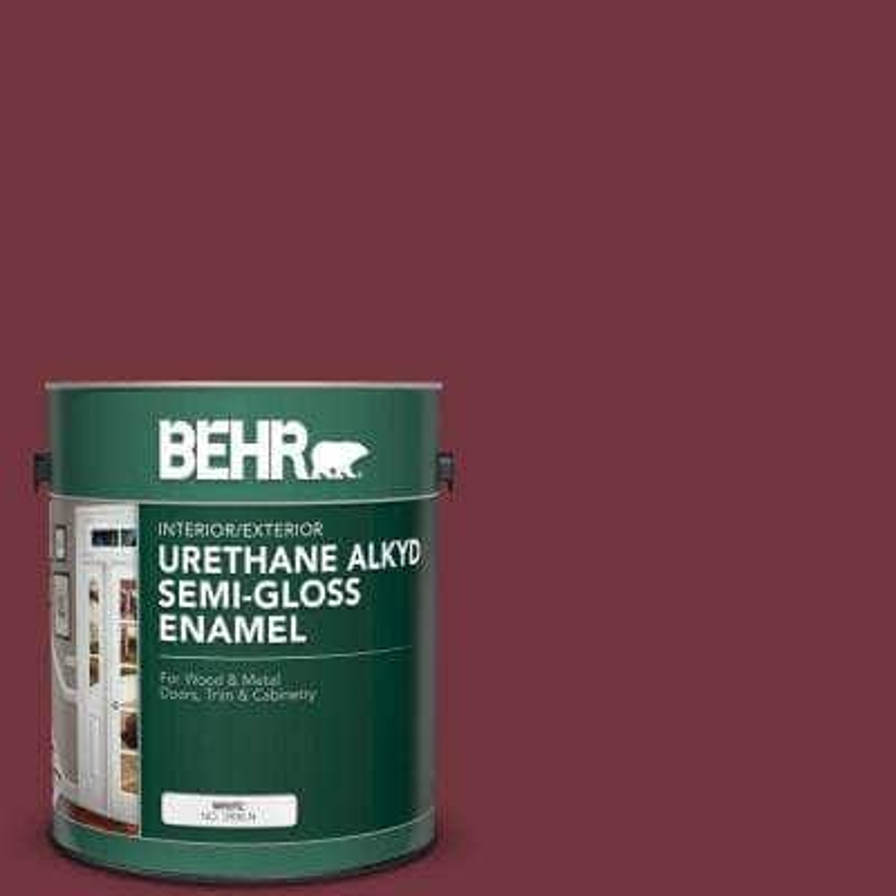 1 gal. #S130-7 Cherry Cola Urethane Alkyd Semi-Gloss Enamel Interior/Exterior Paint