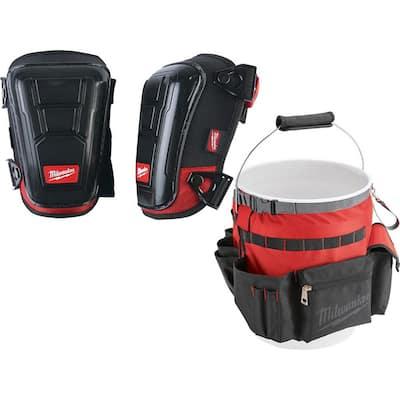 High Performance Hard Shell Knee Pads with Bucket Organizer Tool Bag