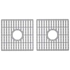 16 in. x 15 in. Silicone Bottom Grid for 36 in. Double Bowl Composite Kitchen Sink in Gray (2-Pack)