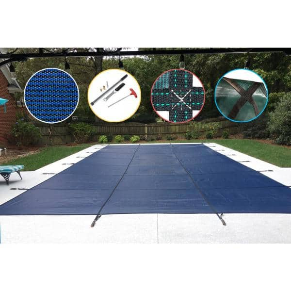 Waterwarden 20 Ft X 40 Ft Rectangle Blue Mesh In Ground Safety Pool Cover Scmb2040 The Home Depot