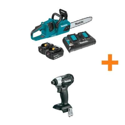14 in. 18V X2 (36V) LXT Lithium-Ion Brushless Cordless Chain Saw Kit (5.0Ah) with Bonus 18V LXT Brushless Impact Driver