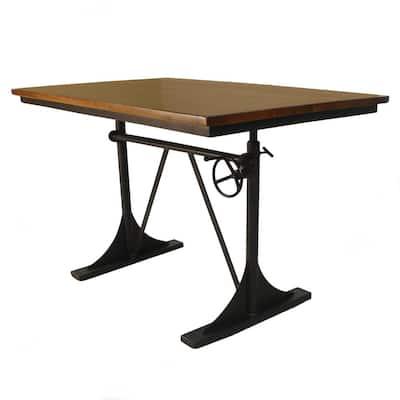 40 in. Rectangular Elm/Black Standing Desks with Adjustable Height