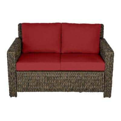 Laguna Point Brown Wicker Outdoor Patio Loveseat with CushionGuard Chili Red Cushions