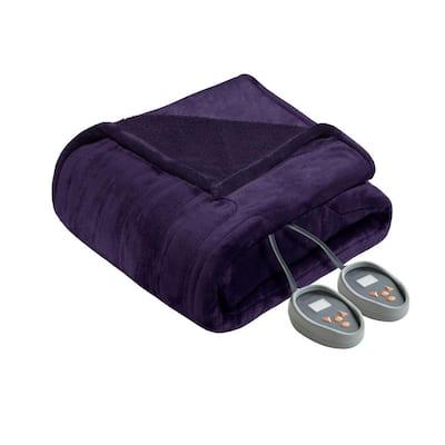 80 in. x 84 in. Heated Microlight to Berber Purple Full Blanket