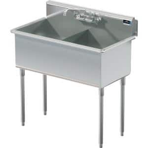 39 in. Freestanding Stainless Steel 2 Compartments Commercial Sink with Faucet
