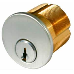 1-1/8 in. Satin Chrome Mortise Cylinder with Schlage Keyway
