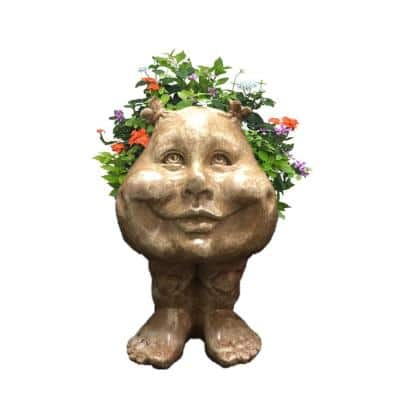 8.5 in. Stone Wash Sister Suzy Q the Muggly Face Statue Planter Holds 3 in. Pot