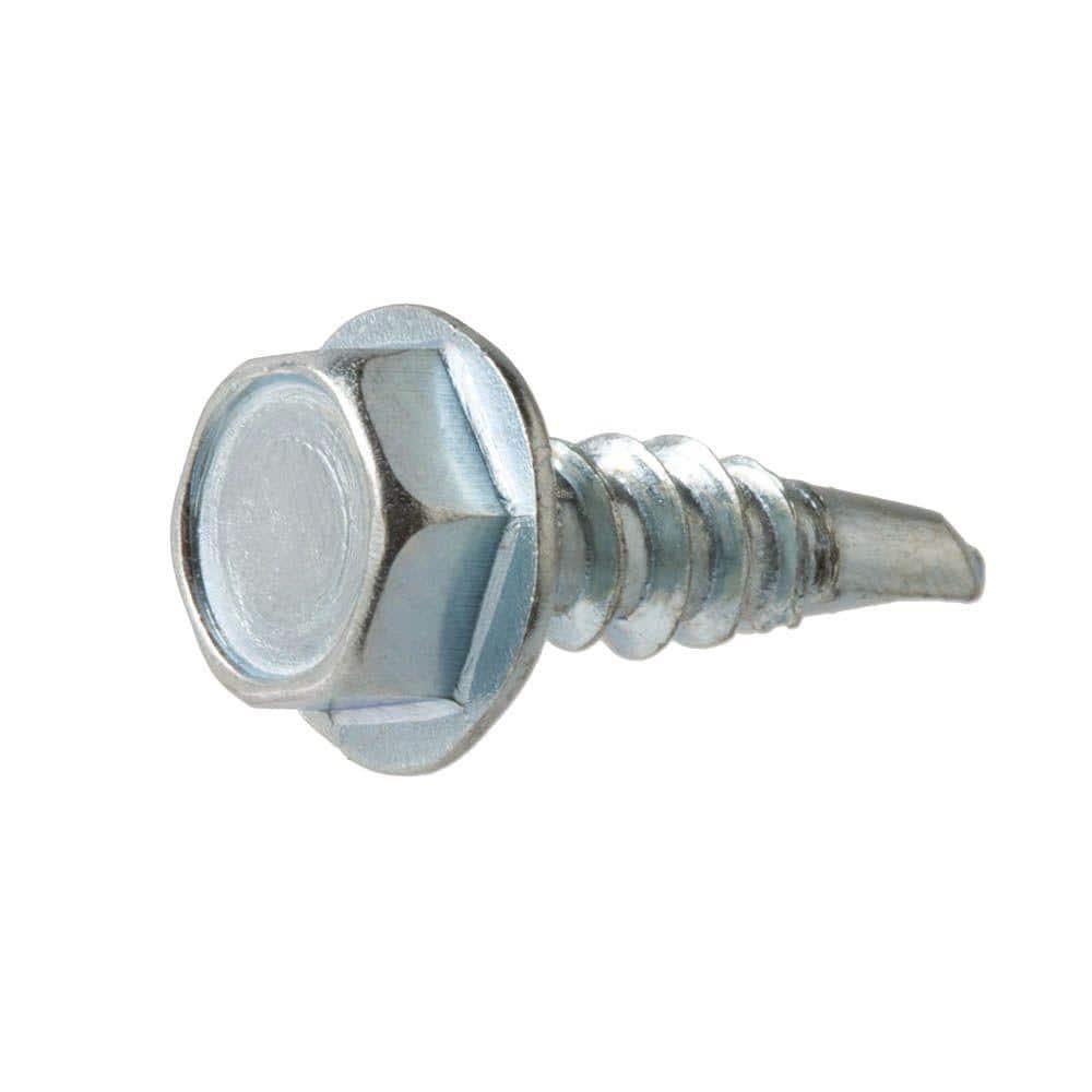Everbilt 8 X 1 1 2 In Hex Head Zinc Plated Sheet Metal Screw 100 Pack 801232 The Home Depot