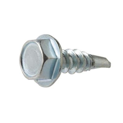 #14 x 1-1/2 in. Hex Head Zinc Plated Sheet Metal Screw (25-Pack)