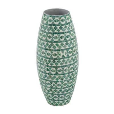 20 in. Green Round Tall Capiz Vase