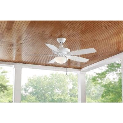 Gazebo III 52 in. White  LED Indoor/Outdoor Ceiling Fan with Light Kit