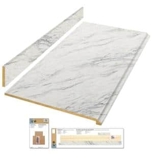 6 ft. White Laminate Countertop Kit with Full Wrap Ogee Edge in Calcutta Marble