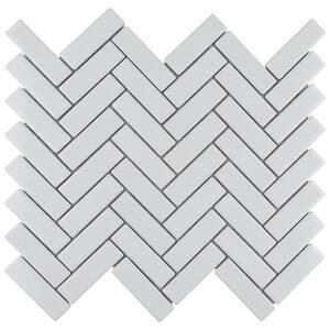 Metro Brick Herringbone Glossy White 12-1/2 in. x 10-5/8 in. Porcelain Mosaic Tile (9.43 sq. ft./Case)