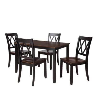 5-Piece Black and Cherry Dining Table Set with Home Kitchen Table and 4-Side Chair