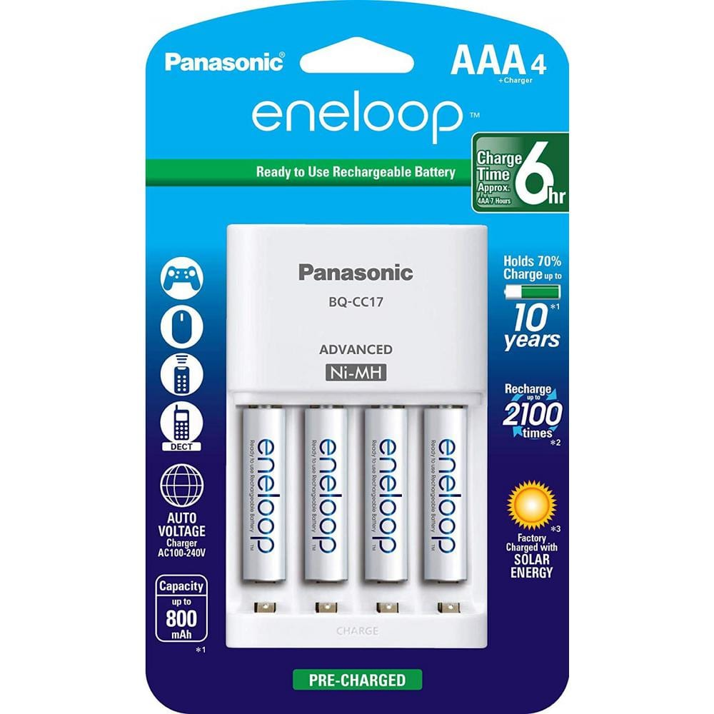 Panasonic Eneloop Advanced Individual Cell Battery Charger Pack With 4 Aaa Eneloop 2100 Cycle Rechargeable Batteries Included Pkkj17m3a4ba The Home Depot