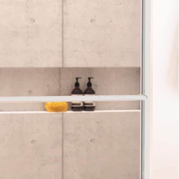 Holcam Distinctive 60 In X 70 1 2 In Semi Frameless Sliding Shower Door In Chrome With Towel Bar And Knob Pull Dse Sil Clr 6070 Hs The Home Depot