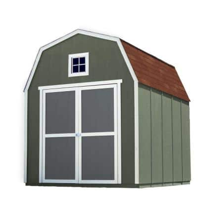 Installed Montana 8 ft. x 10 ft. Wood Storage Shed with Autumn Brown Shingles