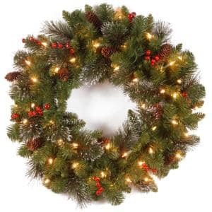 Crestwood Spruce 24 in. Artificial Wreath with Clear Lights