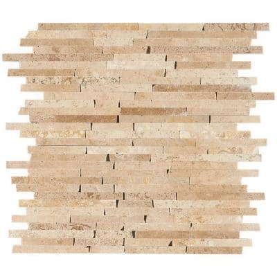 Cracked Joint Random Noche Travertine 12 in. x 12 in. x 8 mm Mosaic Marble Floor and Wall Tile
