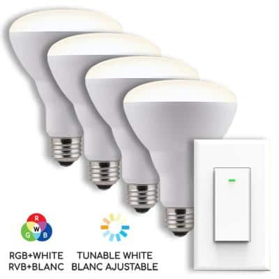 65-Watt Equivalent BR30 Dimmable RGBW Smart LED Light Bulb with Switch (4-Pack )