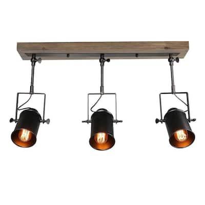 2 ft. 3-Light Matte Black Farmhouse Spotlights Track Light with Gimble Heads Flexible Track Lighting Kit