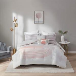 Adrian 5-Piece Blush/Grey Full/Queen Cotton Printed Comforter Set