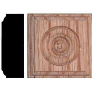 2-1/2 in. x 2-1/2 in. x 7/8 in. Oak Rosette Wood Block Moulding