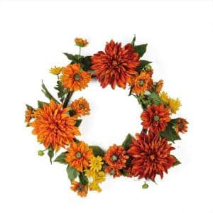 22 in. Autumn Harvest Orange Mums and Yellow Daisies Floral Unlit Wreath
