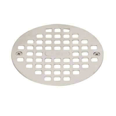 4-1/4 in. Round Universal Snap-In Shower Strainer in Stainless Steel