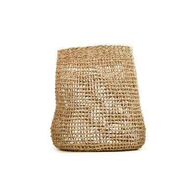 Concave Cylindrical Sparsely Hand Woven Wicker Seagrass Medium Basket without Handles