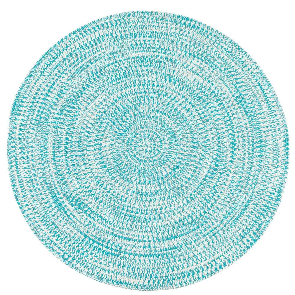 Colonial Mills Kaari Aqua 7 Ft X 7 Ft Tweed Indoor Outdoor Round Area Rug Ka88r084x084 The Home Depot