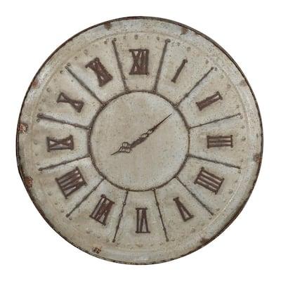 Jonet Vintage Tin Round Clock - Brown, Gray - Large