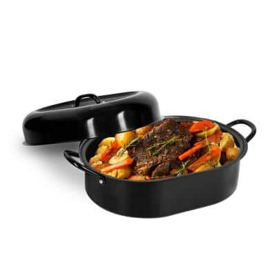 6.8 qt. Aluminum Nonstick Diamond Infused Coating Covered Oval Roasting Pan with Lid