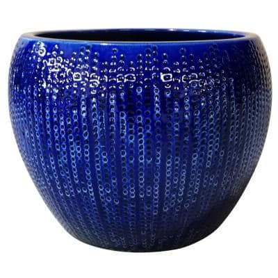 14 in. Dia Blue Calistoga Ceramic Planter