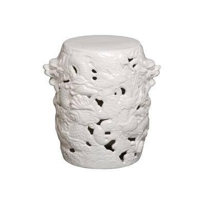 Dragon White Ceramic Garden Stool