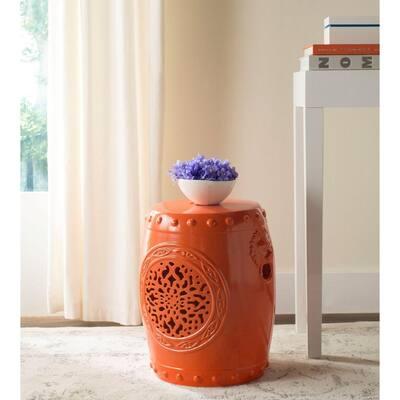 Flower Drum Orange Ceramic Garden Stool