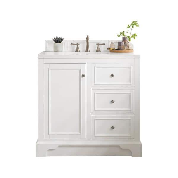 James Martin Vanities De Soto 36 In W Single Bath Vanity In Bright White With Marble Vanity Top In Carrara White With White Basin 825v36bw3car The Home Depot