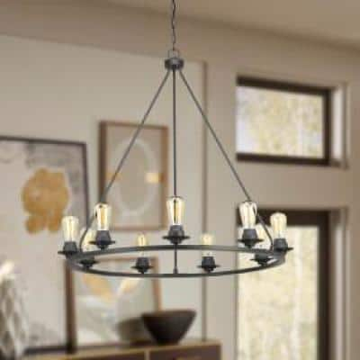 Debut Collection 9-Light Graphite Farmhouse Chandelier Light
