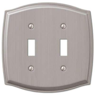Vineyard 2 Gang Toggle Steel Wall Plate - Brushed Nickel