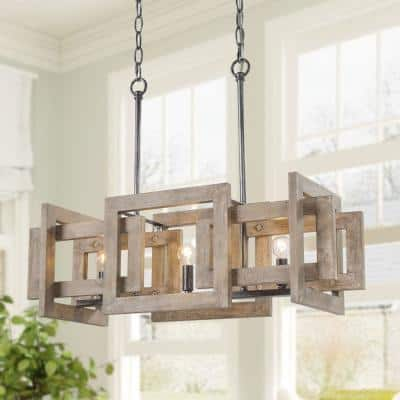 Farmhouse Rustic 3-Light Brushed Black Natural Wood Island Chandelier Geometric Dining Room Ceiling Light