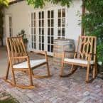 Isabella Wood Outdoor Rocking Chair with Cream Cushion (2-Pack)