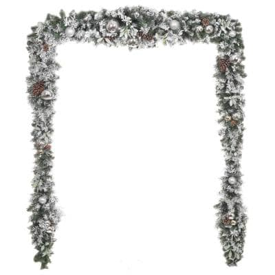 17 ft. Snowy Silver Pine Flocked Unlit Artificial Christmas Garland with Plated Ball Ornaments, Pinecones and Mistletoe